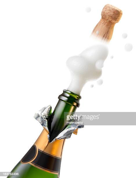 Explosion of champagne bottle cork for celebration