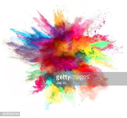 Explosion de couleurs sur fond blanc poudre : Photo