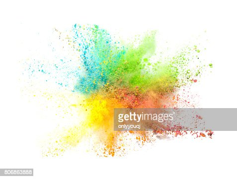 Explosion of colored powder on white background : Stock Photo