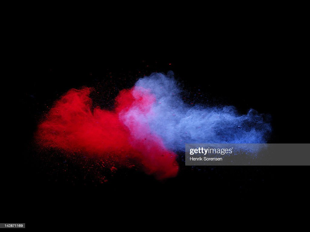 explosion of colored powder