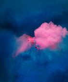 explosion of pink colored powder
