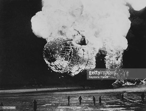 Explosion Of The Dirigible Hindenburg In Lakehurst In Usa On May 1937