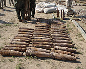 Explosive devices are identified and inventoried before being destroyed by Explosive Ordnance Disposal specialists.
