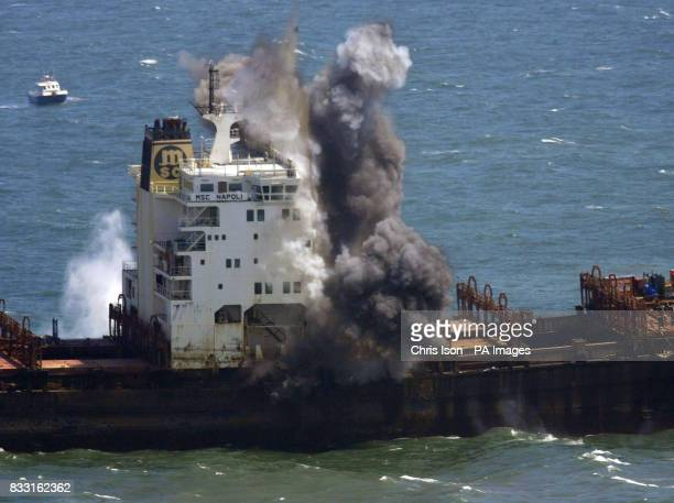 Explosive devices blow apart the deck of the stricken container ship MSC Napoli off the South Devon coast near Sidmouth