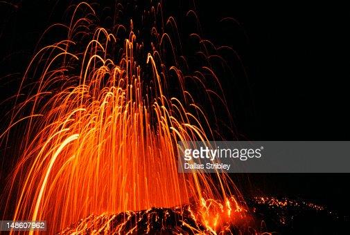 Explosive eruption of Stromboli volcano at night.
