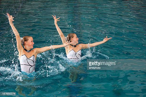 explosive synchronized swimming figure