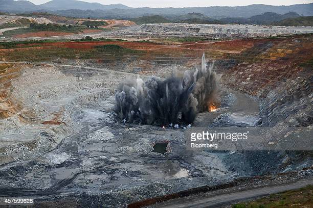 Explosives detonate on the floor of the open pit at the Kibali gold mine operated by Randgold Resources Ltd in Kibali Democratic Republic of Congo on...