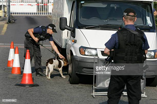 Explosives sniffer dog at Counter Terrorism Check Point at Gatwick Airport South Terminal organised by Sussex Police
