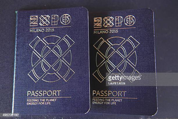 Expo special Passports are displayed during the closing day of the exhibition on October 31 2015 in Milan Italy The gates of the Universal Exhibition...