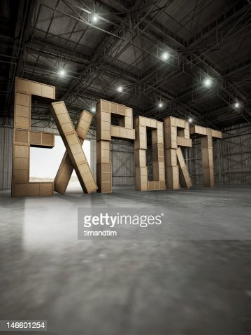 export made with boxes of wood stored in hangar : Stock Photo