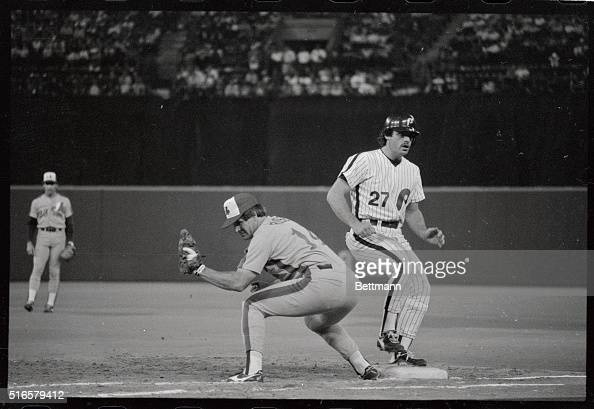 Expos Pete Rose keeps Phillies' Glenn Wilson close to first base on a pickoff attempt in the sixth inning July 27th Rose tied and broke Ty Cobb's...