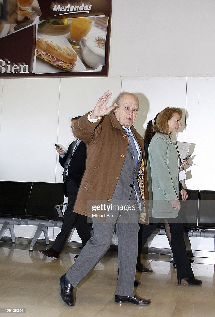 Ex-president of Catalonia Jordi Pujol i Soley at Barcelona Sants train station during the inauguration of the AVE high-speed train line between Barcelona and the French border on January 8, 2013 in Barcelona, Spain.