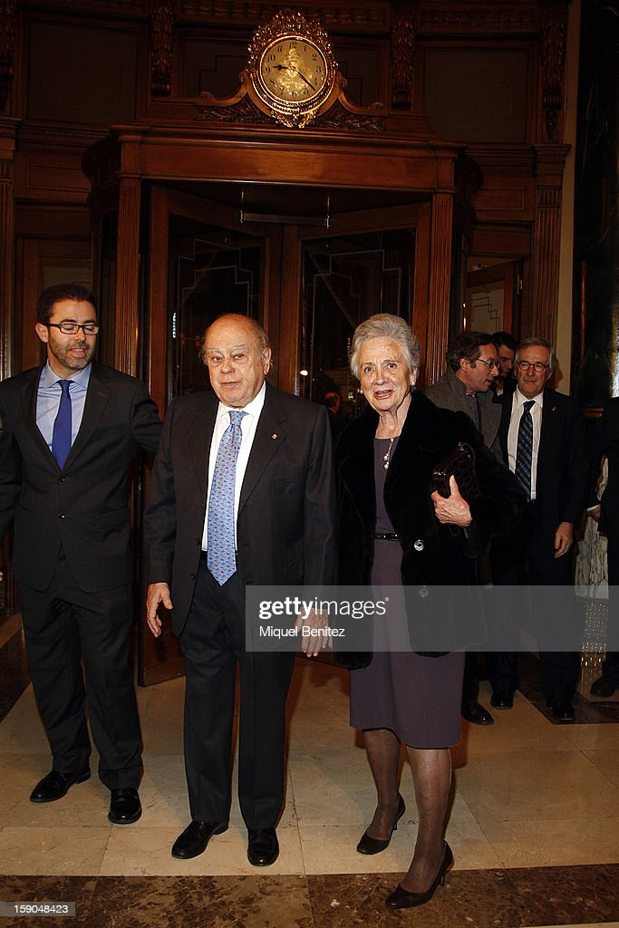 Ex-President of the Catalan regional government Jordi Pujol i Soley and Marta Ferrusola attend the 69th Nadal literature award on January 6, 2013 in Barcelona, Spain.