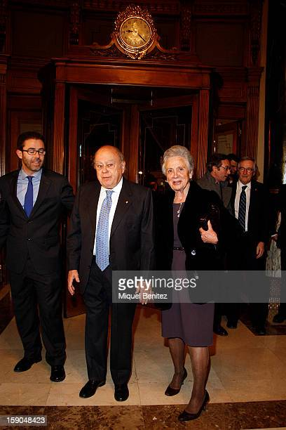 ExPresident of the Catalan regional government Jordi Pujol i Soley and Marta Ferrusola attend the 69th Nadal literature award on January 6 2013 in...