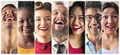 Portraits of laughing people