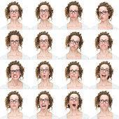 Emotion collection on white background of expressive young woman with brown long curly hair wearing glasses