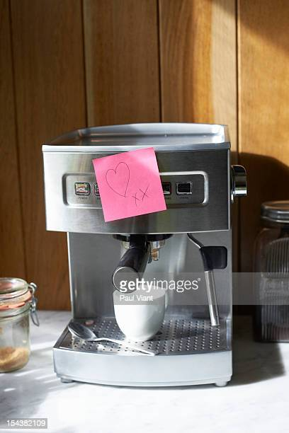 expresso machine with love heart note