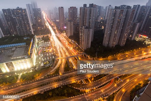 Expressways at Dusk, Chongqing, China