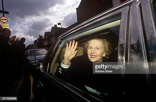 ExPrime Minister Margaret Thatcher leaves former Finchley constituence while campaigning for John Major's 1992 election Two years after her...