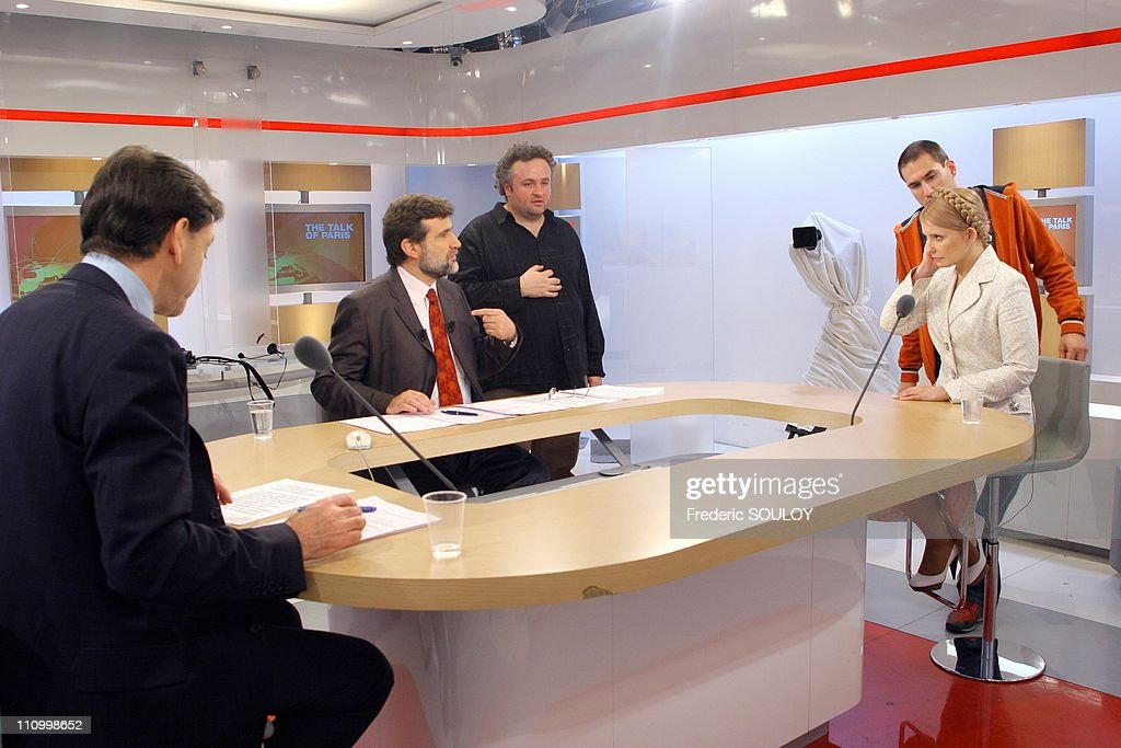 Ex-Prime-Minister Yulia Timoshenko on tv show 'The Talk of Paris', hosted by Ulysse Gosset in Paris, France on March 28th, 2007