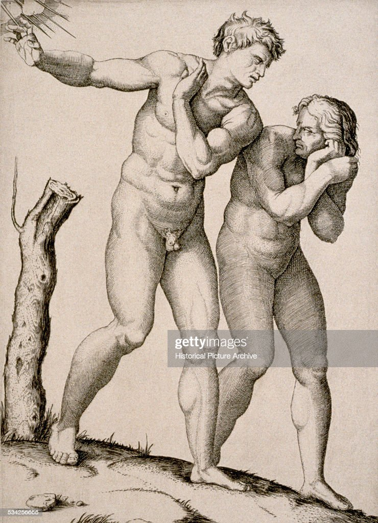 Expulsion of <a gi-track='captionPersonalityLinkClicked' href=/galleries/search?phrase=Adam+-+Biblisk+person&family=editorial&specificpeople=77730 ng-click='$event.stopPropagation()'>Adam</a> and Eve by Marcantonio Raimondi after Michelangelo