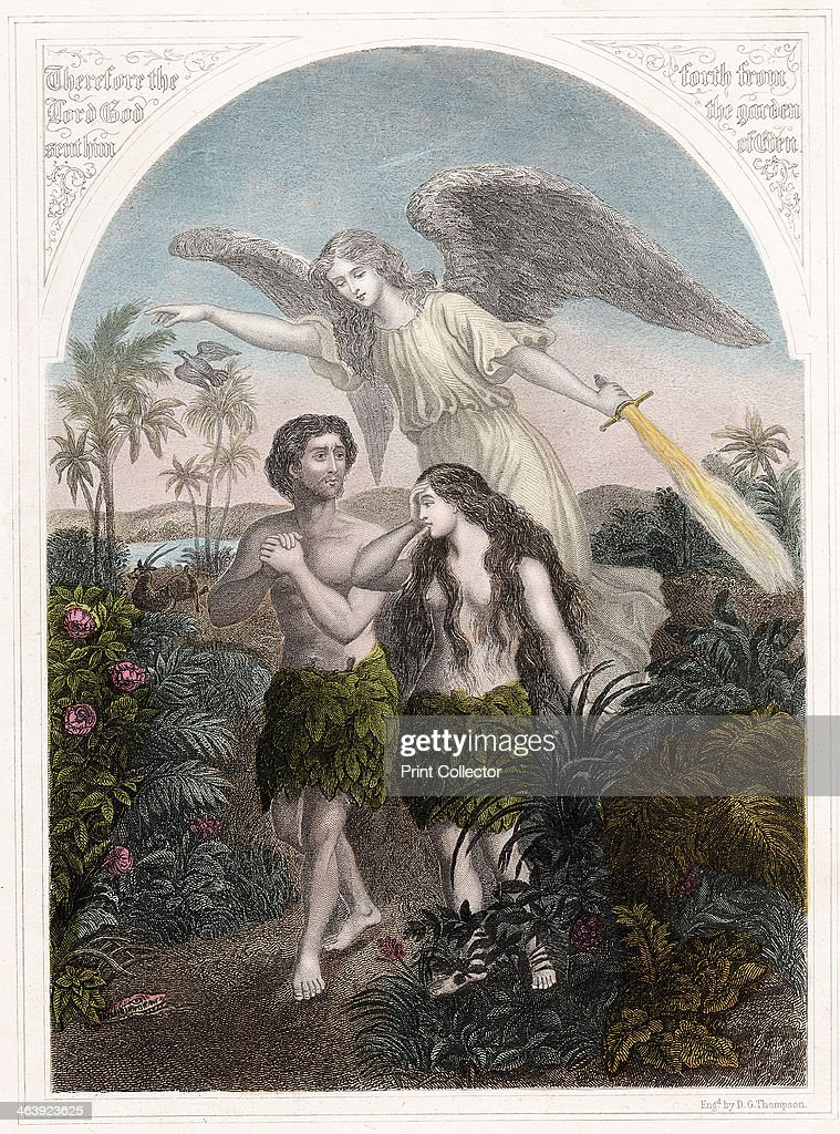 Expulsion of <a gi-track='captionPersonalityLinkClicked' href=/galleries/search?phrase=Adam+-+Biblisk+person&family=editorial&specificpeople=77730 ng-click='$event.stopPropagation()'>Adam</a> and Eve from the Garden of Eden, c1860. An angel with a flaming sword supervises the expulsion of <a gi-track='captionPersonalityLinkClicked' href=/galleries/search?phrase=Adam+-+Biblisk+person&family=editorial&specificpeople=77730 ng-click='$event.stopPropagation()'>Adam</a> and Eve, wearing aprons of fig leaves, from Paradise. From the Bible (Genesis 3).