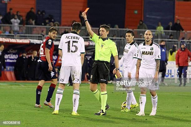 expulsion of Francesco Acerbi of Sassuolo during the Serie A match between Cagliari Calcio and US Sassuolo Calcio at Stadio Sant'Elia on January 24...