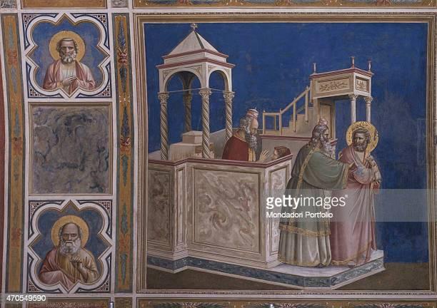 'Expulsion of Joachim by Giotto 13031305 14th Century fresco Italy Veneto Padua Scrovegni Chapel After restoration picture Whole artwork view Joachim...