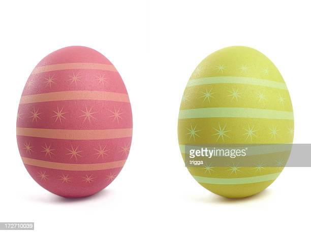 Exquisitely decorated Easter eggs in red and yellow