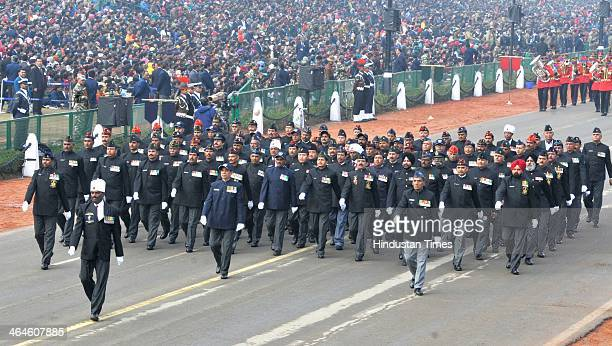 ExServicemen jawans passing through the saluting base during the full dress rehearsal for Republic Day Parade at Rajpath on January 23 2014 in New...