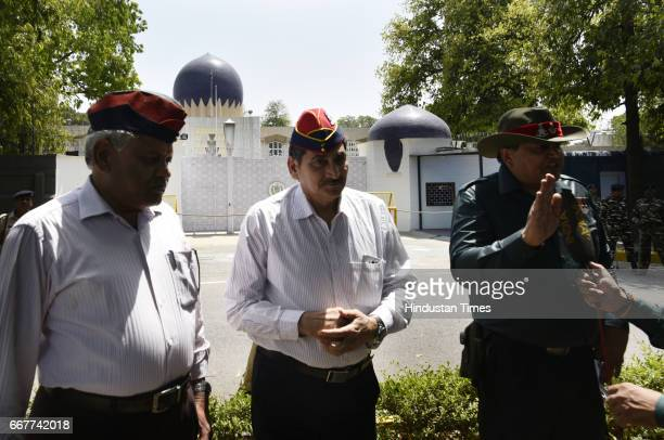 Exservicemen protesting outside the Pakistan High Commission demanding the release of former Indian Naval Commander Kulbhushan Jadhav who has been...