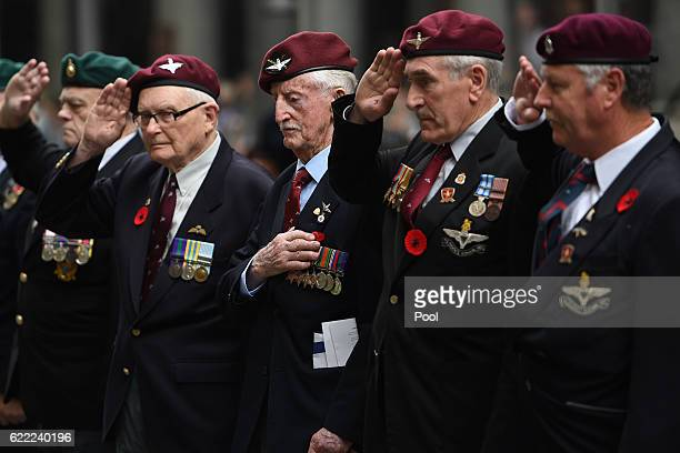 ExServicemen salute after laying a wreath during the Remembrance Day service at the Cenotaph on November 11 2016 in Sydney Australia This year marks...