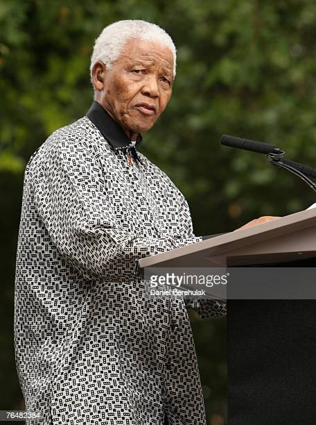 ExSouth African President Nelson Mandela addresses the crowd during a statue unveiling ceremony in his honour at Parliament Square on August 29 2007...