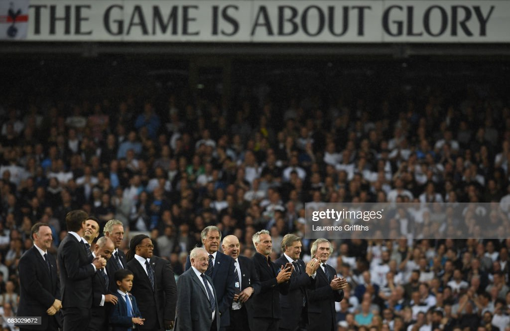 Ex-Spurs players look on during the closing ceremony after the Premier League match between Tottenham Hotspur and Manchester United at White Hart Lane on May 14, 2017 in London, England. Tottenham Hotspur are playing their last ever home match at White Hart Lane after their 112 year stay at the stadium. Spurs will play at Wembley Stadium next season with a move to a newly built stadium for the 2018-19 campaign.