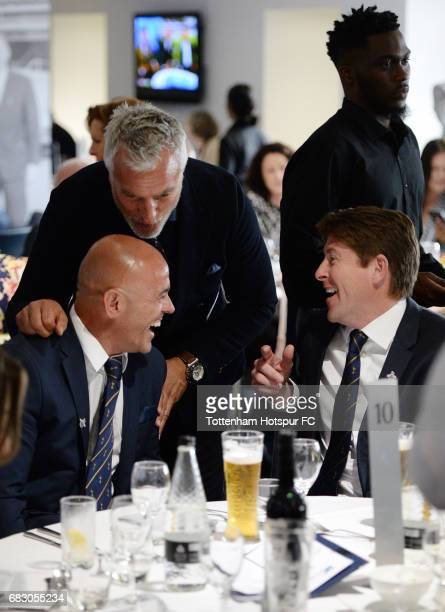 ExSpurs players Stephen Carr David Ginola and Darren Anderton in discussion prior to the Premier League match between Tottenham Hotspur and...