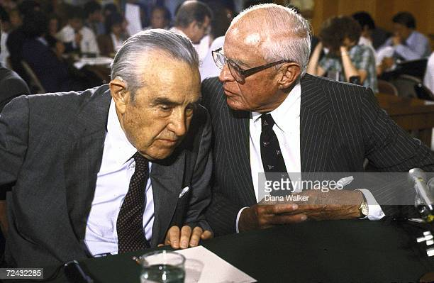 ExStatesman Averell Harriman and ExAmbassador to the USSR Thomas Watson testifying before Senate Foreign Relations Committee hearing re Soviet...