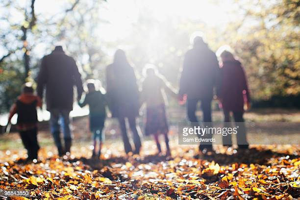 Extended family walking in park in autumn