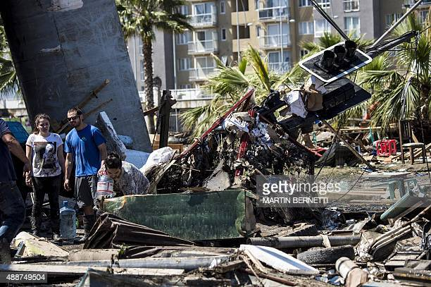 Extensive damage caused by the sea in the port of Coquimbo some 445 km north of Santiago during the eve's earthquake on September 17 2015 A million...