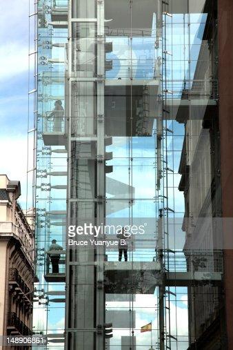 Exterior elevators of Reina Sofia National Art Museum (Museo Nacional de Arte Reina Sofia). : Stock Photo