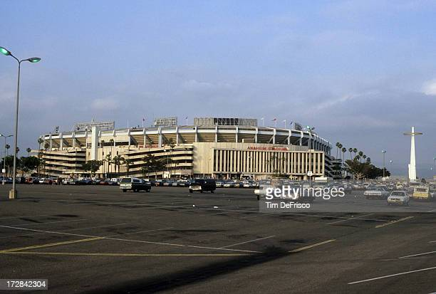 Exterior general view of Anaheim Stadium during an MLB game with the New York Yankees and California Angels in May 1989 at Anaheim Stadium in Anaheim...