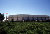 Exterior general view of the home of the New York Islanders in August 1995 at the Nassau Coliseum in Uniondale New York