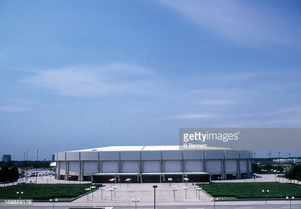 Exterior general view of the home of the New York Islanders in June 1982 at the Nassau Coliseum in Uniondale New York