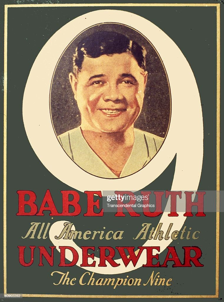 Exterior image taken from box of <a gi-track='captionPersonalityLinkClicked' href=/galleries/search?phrase=Babe+Ruth&family=editorial&specificpeople=94423 ng-click='$event.stopPropagation()'>Babe Ruth</a> Underwear showing a smiling color portrait of George Herman <a gi-track='captionPersonalityLinkClicked' href=/galleries/search?phrase=Babe+Ruth&family=editorial&specificpeople=94423 ng-click='$event.stopPropagation()'>Babe Ruth</a>, Accompanying copy states 'All America Athletic, The Champion Nine',