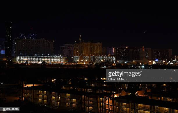 Exterior lights on hotelcasinos on the Las Vegas Strip go dark for three minutes in memory of former UNLV head basketball coach Jerry Tarkanian after...