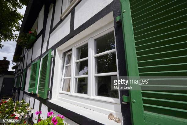 Exterior of a German haft timbered (Fachwerk) 18th century farmhouse