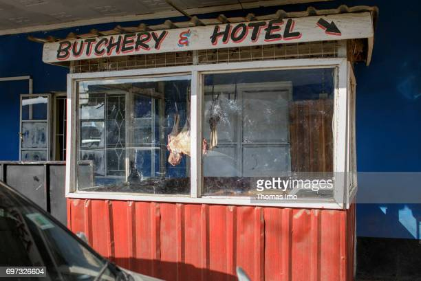 Exterior of a hotel and butcher shop on May 17 2017 in Talek Kenya