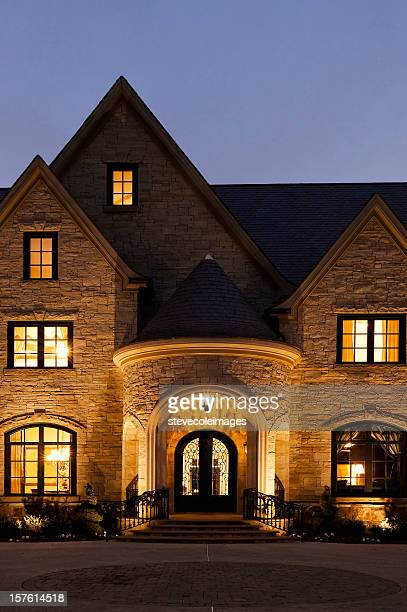 Exterior of a Mansion at Night