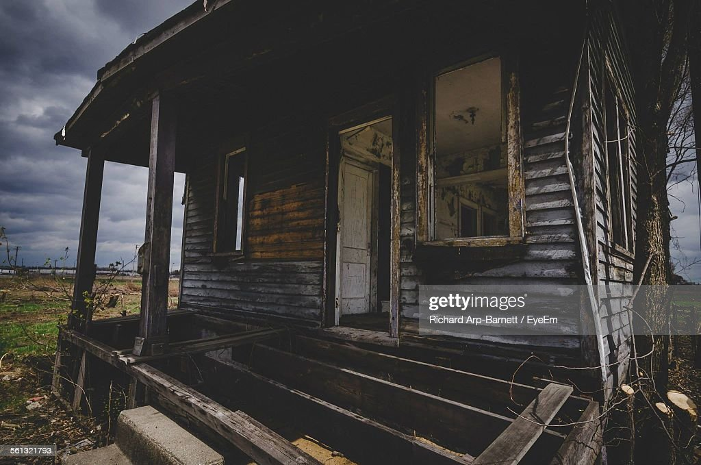 Exterior Of Abandoned House On Field