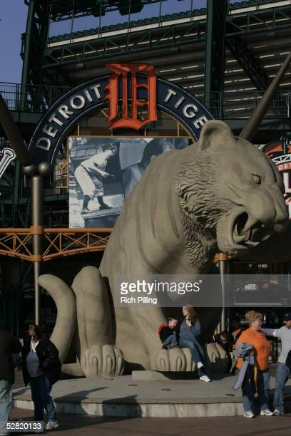 Exterior of Comerica Park is pictured before the game between the Detroit Tigers and the Boston Red Sox on May 4 2005 in Detroit Michigan The Red Sox...