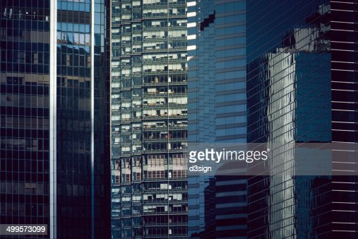 Exterior Of Curtain Wall Commercial Skyscrapers Stock Photo ...